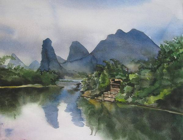 Watercolor Art Print featuring the painting Gulin Reflection by Alfred Ng