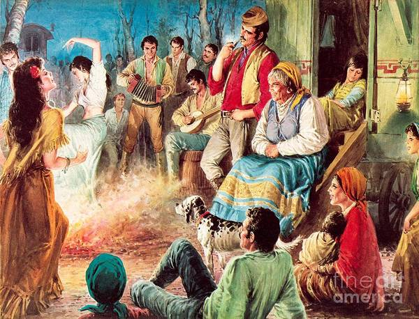 Gypsies Art Print featuring the painting Gypsies Partying by English School