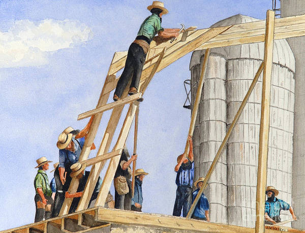 Amish Art Print featuring the painting Helping Hands Helping Hearts by John W Walker