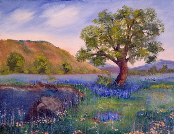 Bluebonnets Art Print featuring the painting Hill Country Spring by Linda Poe