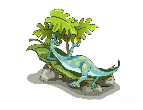 Horizontal Art Print featuring the digital art Illustration Of An Iguanodon Sunbathing by Stocktrek Images