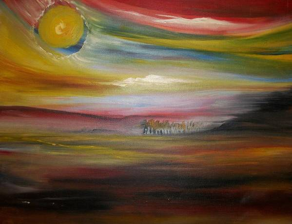 Landscape Art Print featuring the painting Inside The Sunset by Jake Huenink