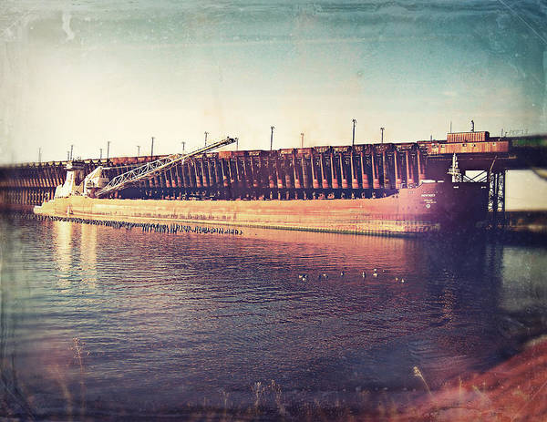 Iron Ore Freighter Art Print featuring the digital art Iron Ore Freighter In Dock by Phil Perkins