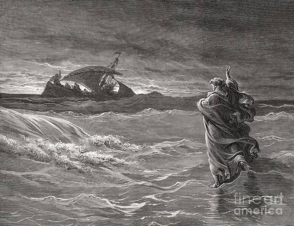 Sea Of Galilee; Miracle; Faith; Waving; Fishing Boat; Fishermen; Disciples; Performing; Water; Judea Art Print featuring the drawing Jesus Walking On The Sea John 6 19 21 by Gustave Dore