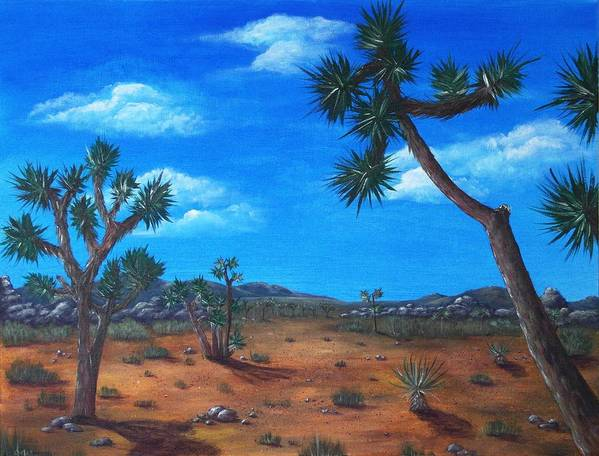 Malakhova Art Print featuring the painting Joshua Tree Desert by Anastasiya Malakhova