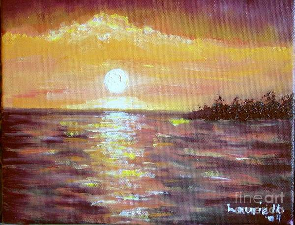 Sunset Art Print featuring the painting Kona Sunset by Laurie Morgan