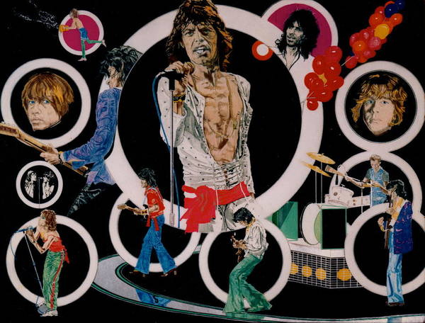 Mick Jagger;keith Richards;brian Jones;charlie Watts;bill Wyman;rock & Roll;music;guitars;water Art Print featuring the drawing Ladies And Gentlemen - The Rolling Stones by Sean Connolly