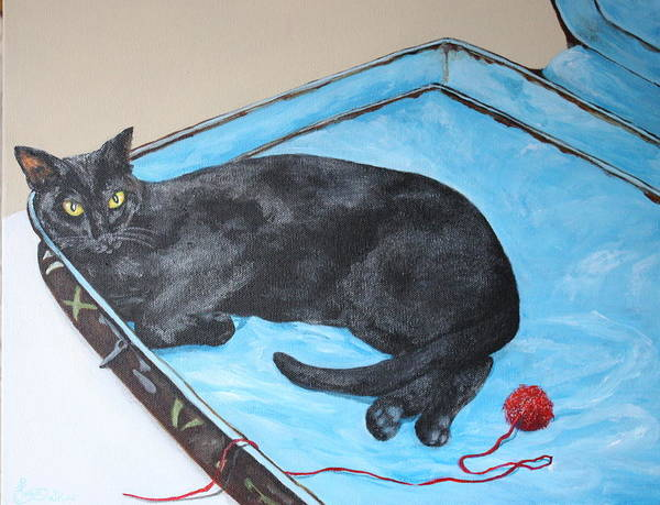 Black Cat Art Print featuring the painting Lazy Black Cat by Jean Walker