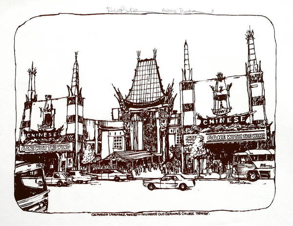 Hollywood. The Old Chinese Theater - A Landmarkfrom The 1920's Era. I Hand Printed This Myself In The Early 1970's. Art Print featuring the drawing Hollywood's Chinese Theater Landmark.     by Robert Birkenes