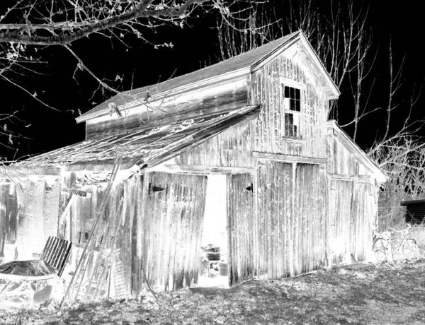 Barn Art Print featuring the photograph Madeline S Barn - Black And White by Nina-Rosa Duddy