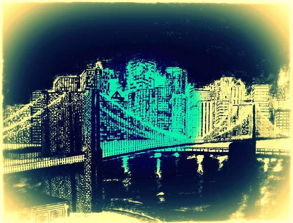 Brooklyn Bridge New York Bridge Abstract Art Print featuring the drawing Manhattan In Blue by Irving Starr
