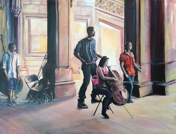 Musicians Art Print featuring the painting Melody In Central Park by Christine Rotolo