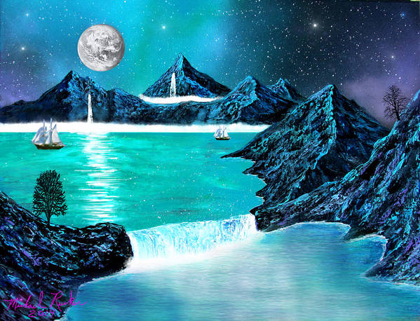 Mountain Art Print featuring the painting Mountain Bay by Michael Rucker