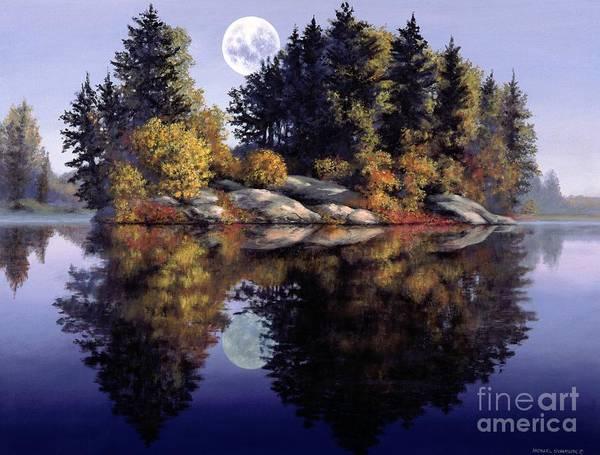 Muskoka Print featuring the painting Muskoka Moon by Michael Swanson