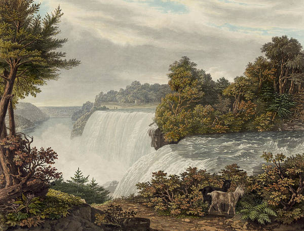 American Print featuring the painting Niagara Falls Circa 1829 by Aged Pixel