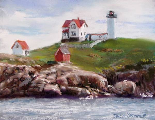Lighthouse Art Print featuring the painting Nubble Lighthouse In Pastel by Jack Skinner