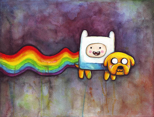 Nyan Cat Art Print featuring the painting Nyan Time by Olga Shvartsur