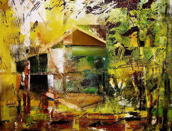 Abstract Art Print featuring the painting Old Mill by Laurend Doumba