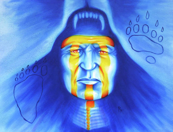 Native American Art Art Print featuring the painting Painted Bear by Robert Martinez