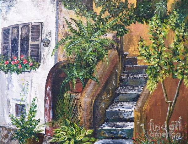 Italian Villa Art Print featuring the painting Painting  Siesta Steps by Judy Via-Wolff