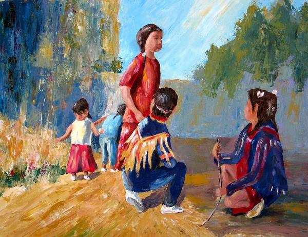 Paiute Art Print featuring the painting Paiute Indian Children Playing At The Powwow by Gretchen Jones