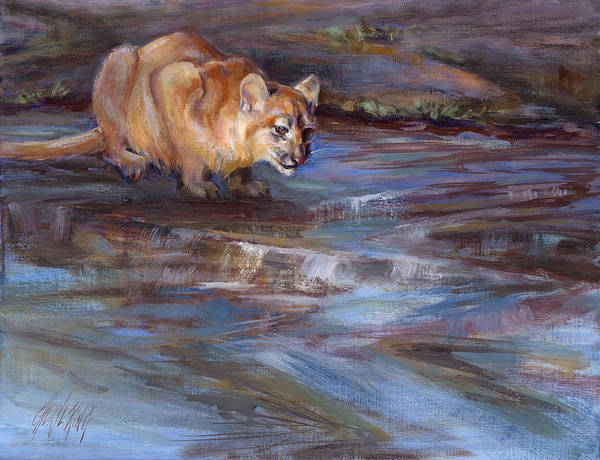 Cougar Art Print featuring the painting Pause by Cheryl King