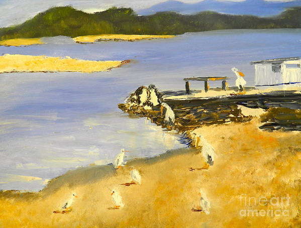 Impressionism Art Print featuring the painting Pelicans On The Shore by Pamela Meredith