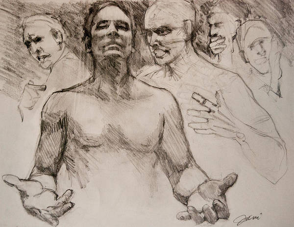 People Art Print featuring the drawing Persecution Sketch by Jani Freimann