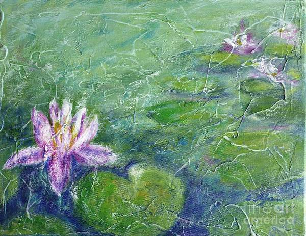 Water Lily Art Print featuring the painting Green Pond With Water Lily by Cristina Stefan