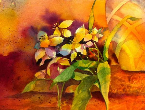 Floral Art Print featuring the painting Pot And Posie by Sandy Siebold