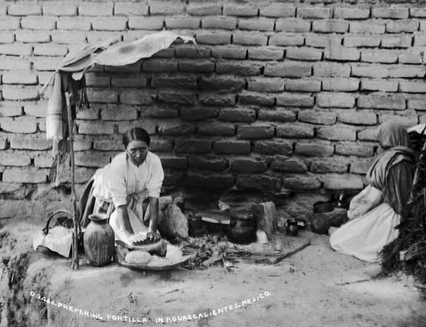 1880s Art Print featuring the photograph Preparing Tortillas In Aguas Calientes by Everett