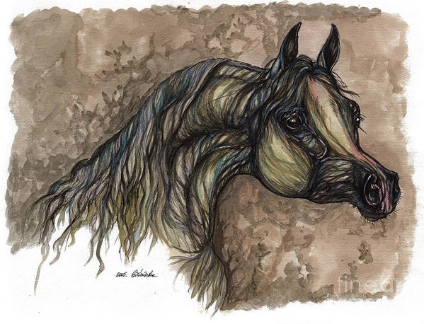 Psychodelic Art Print featuring the painting Psychodelic Grey Horse Original Painting by Angel Ciesniarska