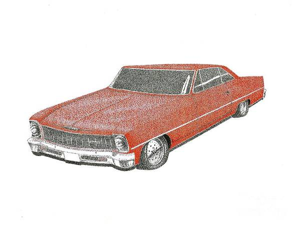 #classic Car Art Print featuring the drawing Red Desire by Kip Vidrine