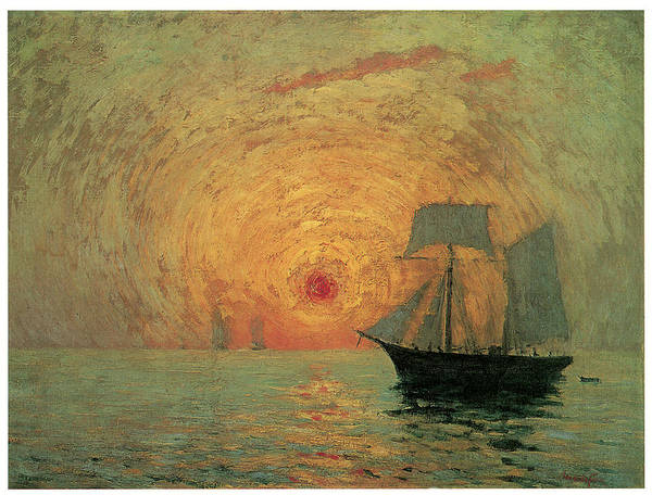 Maxime Maufra Art Print featuring the painting Red Sun by Maxime Maufra