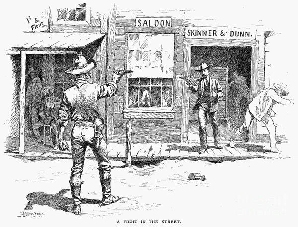 19th Century Print featuring the photograph Remington: Duel by Granger