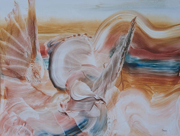 Contemporary Abstract Expressionism Art Print featuring the painting Revival Angels In The Desert by Sharon Saxon