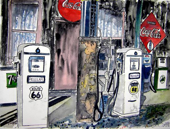 Watercolor Art Print featuring the painting Route 66 Gas Station by Derek Mccrea