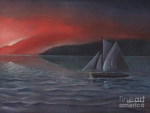 Silboat Art Print featuring the painting Sailboat In Sunset by Christian Simonian