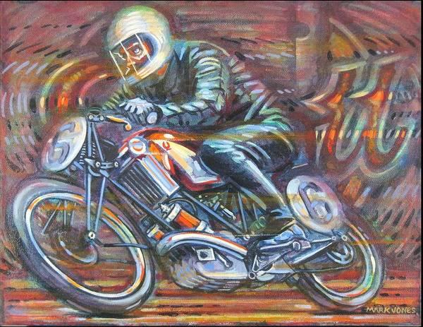Motorcycle Art Print featuring the painting Scott 2 by Mark Howard Jones