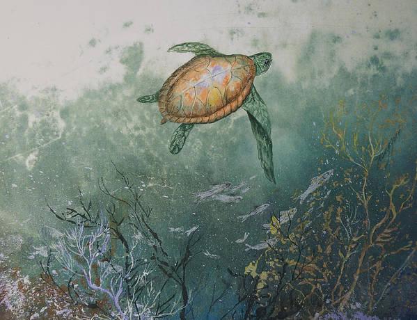 Gyotaku Art Print featuring the mixed media Sea Turtle by Nancy Gorr