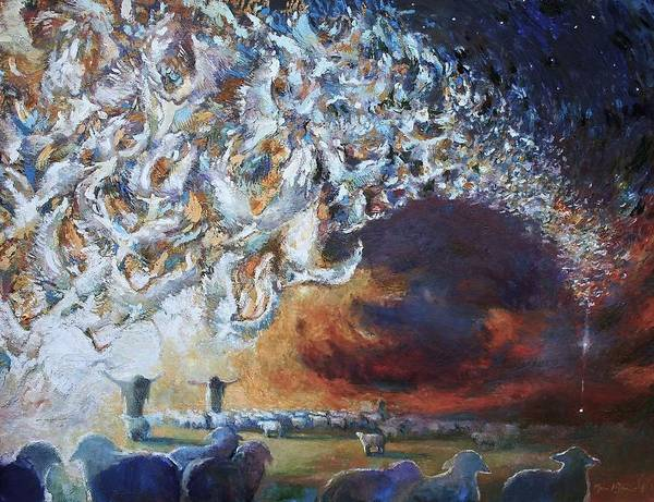 Christmas Art Print featuring the painting Seeing Shepherds by Daniel Bonnell