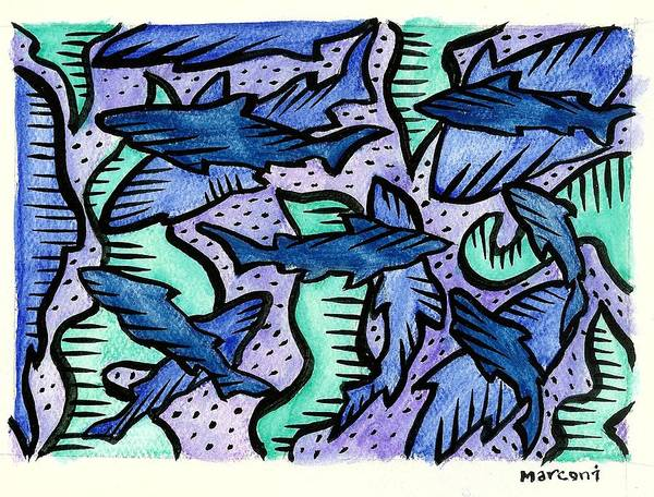 Art Print featuring the painting Sharkpac... by Marconi Calindas