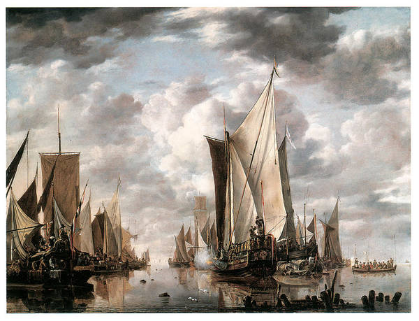 Jan Van De Cappelle Art Print featuring the painting Shipping In A Calm At Flushing Wiht A States General Yacht Firing A Salute by Jan van de Cappelle