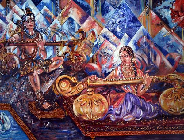 Shiv Print featuring the painting Shiva Parvati by Harsh Malik