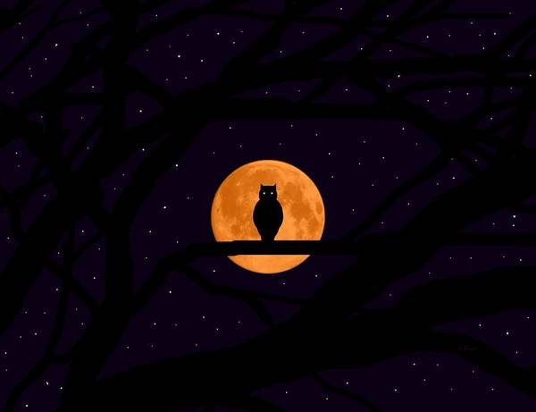 Halloween October November Fall Autumn Great Horned Owl Bird Of Prey Predator Predatory Meat Eating Large Largest Owl Full Moon Harvest Moon Orange Flies Fly Glide Glides Hunt Hunts Hunting   Art Print featuring the digital art Silent Harvest Moonlight Predator by L Brown