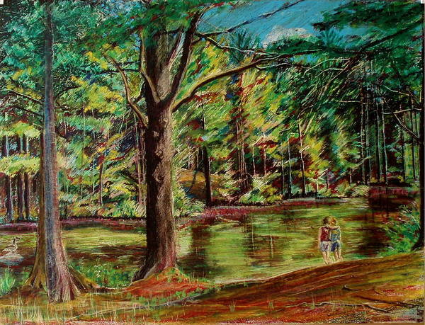 New Hampshire Art Print featuring the pastel Sisters At Wason Pond by Sean Connolly