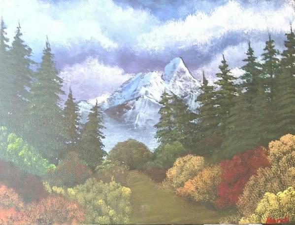 Landscape Art Print featuring the painting Snowy Mountains by Amanda Rardin