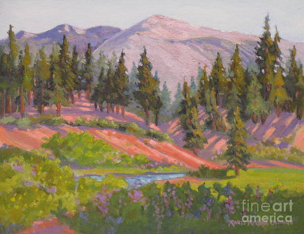 Sierras Art Print featuring the painting Sonora Pass Meadow by Rhett Regina Owings