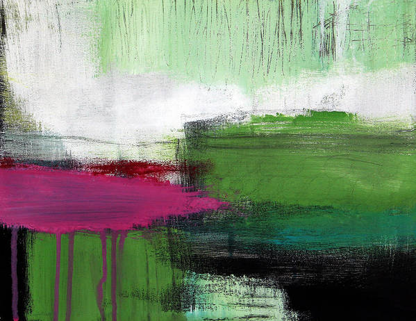 Green Abstract Painting Art Print featuring the painting Spring Became Summer- Abstract Painting by Linda Woods