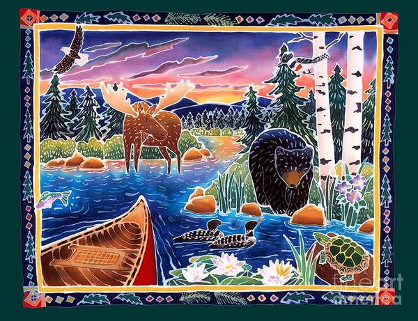 Bear Art Print featuring the painting Sunrise At Bear Lake by Harriet Peck Taylor
